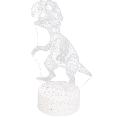 Luz nocturna LED 3D en forma de dinosaurio, control tactil