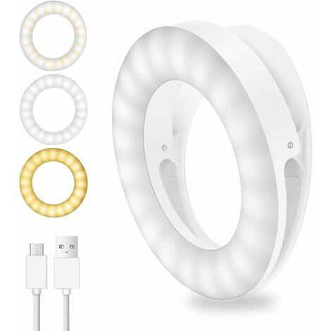 Luz para selfies LITZEE, luz de anillo de 40 LED, luz de cámara para selfies con 3 niveles de brillo ajustables, luz de anillo de configuración USB recargable para todos los teléfonos móviles, tabletas