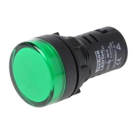 Luz piloto LED de 22 mm para paneles de control 230 VAC Verde