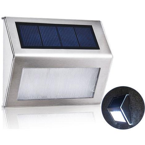 Luz solar de jardin de acero inoxidable, para escaleras, blanco