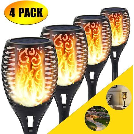 Luz solar de la antorcha, 96 LED parpadeo luces de llama Jardín sendas/patio decoración de paisaje al aire libre iluminación de llama de baile (4 pack) [Clase de eficiencia energética A]