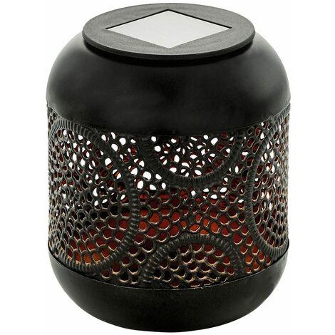 Luz solar LED terraza exterior decoración de mesa lámpara de balcón decoración de cobre negro troquelados Eglo 48769