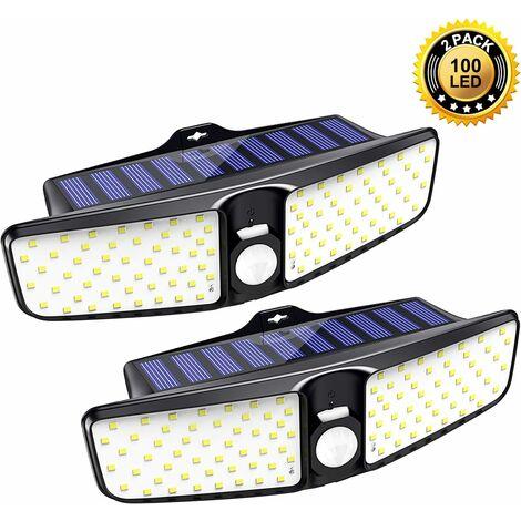 Luz solar LITZEE para uso exterior [paquete de 2], luz exterior 100 LED con detector de movimiento con gran angular 220 °, seguridad IP65 impermeable para luces solares exteriores para garajes de jardín
