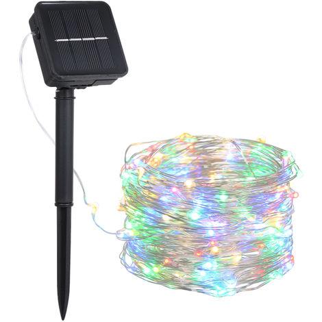Luz solar para cesped con cable de cobre, 6W, 10M, 100 LED, colorida