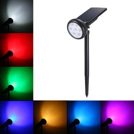 Luz solar para cesped, focos horizontales de 7 colores
