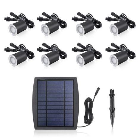 Luz solar para cesped, luz subterranea, 3.2V, 0.2W, 8 piezas, blanco calido