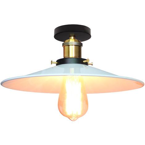 Luz vintage de Techo Ø26cm (platillo volador) UFO Lámpara Creativo Colgante Iluminacion Plato Boca Baja (Blanco)