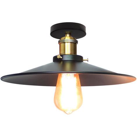 Luz vintage de Techo Ø26cm (platillo volador) UFO Lámpara Creativo Colgante Iluminacion Plato Boca Baja (Negro)