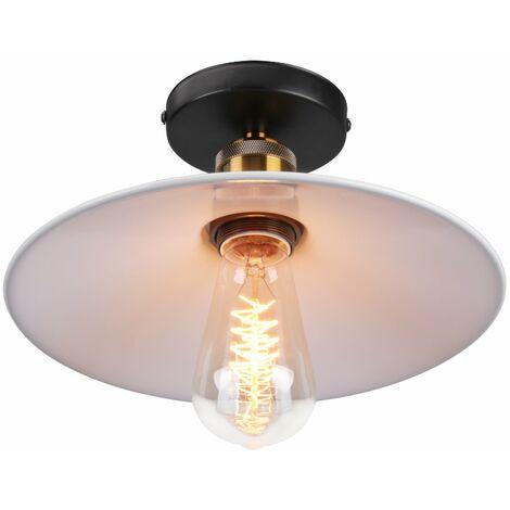 Luz vintage de Techo (platillo volador) UFO Lámpara Creativo Colgante Iluminacion Plato Boca Baja (Blanco)