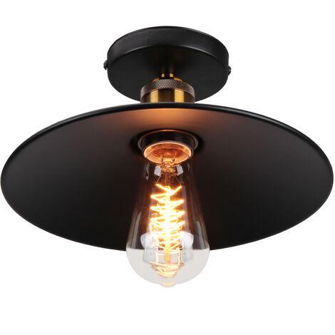Luz vintage de Techo (platillo volador) UFO Lámpara Creativo Colgante Iluminacion Plato Boca Baja (Negro)