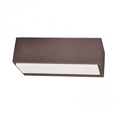 LuzConLed - Aplique Jardín 12W LED Rectangular color marrón óxido 4000k - Envío Desde España