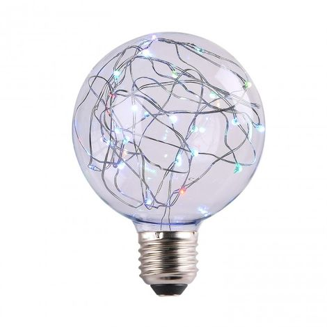 LuzConLed - Bombilla decorativa LED 2W G95 RGB - Envío Desde España