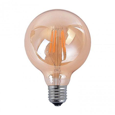 LuzConLed - Bombilla filamento decorativa LED E27 4W 2300k Ø 80 mm - Envío Desde España