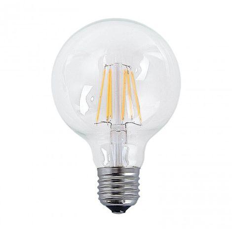 LuzConLed - Bombilla filamento decorativa LED E27 6W 2300k Ø 80 mm - Envío Desde España