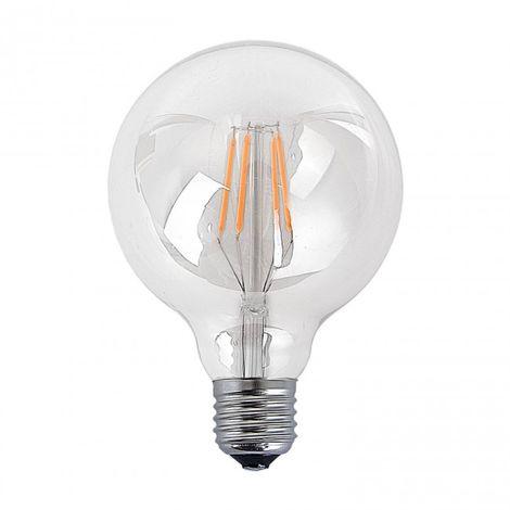 LuzConLed - Bombilla filamento decorativa LED E27 6W 2300k Ø 95 mm - Envío Desde España