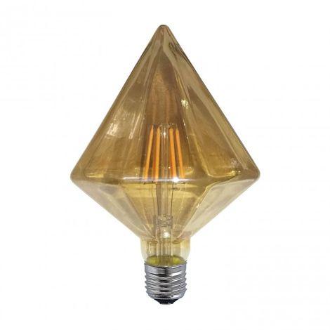 LuzConLed - Bombilla regulable decorativa ámbar diamante LED E27 6W 2300k - Envío Desde España