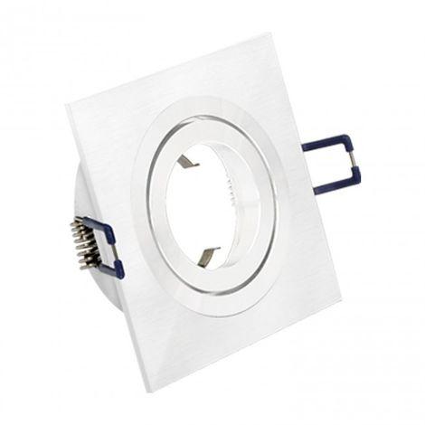 LuzConLed - Downlight cuadrado 1 Foco Aluminio cepillado blanco - Envío Desde España