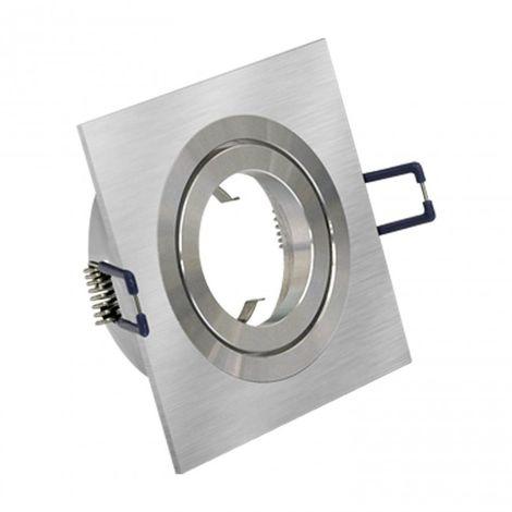 LuzConLed - Downlight cuadrado 1 foco Aluminio Cepillado - Envío Desde España