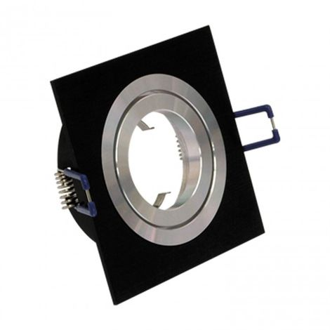 LuzConLed - Downlight empotrable cuadrado 1 Foco Aluminio/negro - Envío Desde España