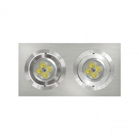 LuzConLed - Downlight Empotrable Rectangular 2 Focos Aluminio - Envío Desde España