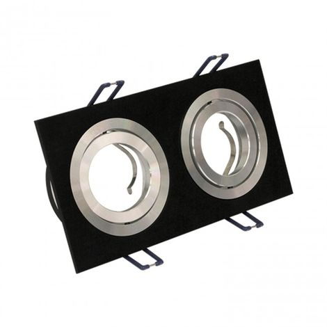 LuzConLed - Downlight empotrable rectangular. 2 FOCOS aluminio/ negro - Envío Desde España