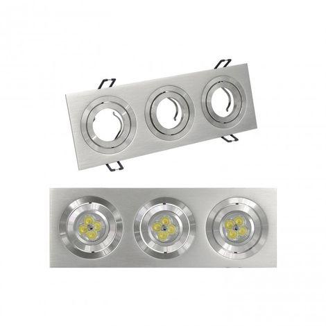LuzConLed - Downlight Empotrable rectangular 3 Focos Aluminio - Envío Desde España
