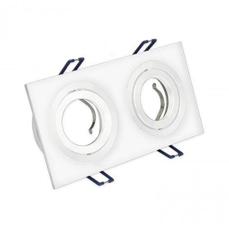 LuzConLed - Downlight rectangular 2 Focos aluminio cepillado blanco - ENVÍO DESDE ESPAÑA