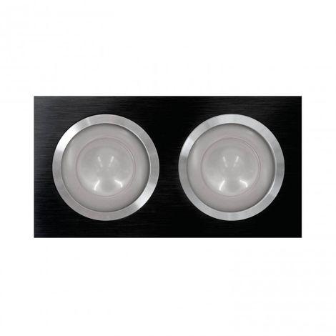 LuzConLed - Downlight rectangular LED 2 Focos 3 x 3W Aluminio negro - Envío Desde España