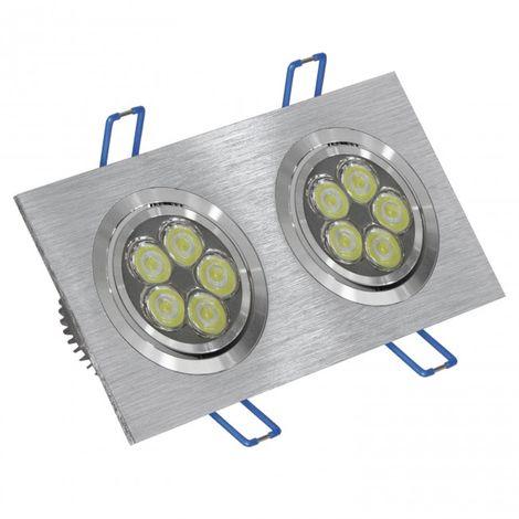 LuzConLed - Foco  LED doble 12W 6000K rectangular aluminio cepillado - ENVÍO DESDE ESPAÑA