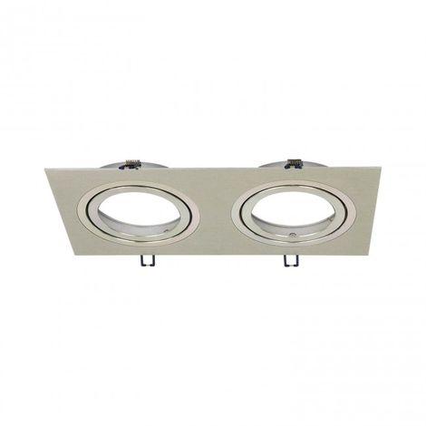 LuzConLed - Foco rectangular GD 2 Focos Aluminio Empotrable AR111 - Envío Desde España