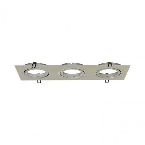 LuzConLed - Foco rectangular GD 3 Focos Aluminio Empotrable AR111 - Envío Desde España