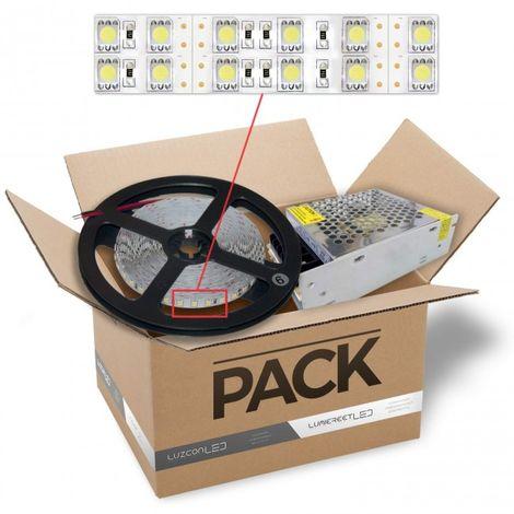 LuzConLed - Kit de tira LED 1 metro 12V 30W por metro luz blanca con transformador - Envío Desde España