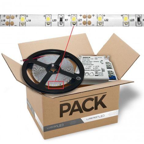 LuzConLed - Kit de tira LED 1 metro 12V DC 8W 60LED/metro con transformador luz blanca 4500k - Envío Desde España