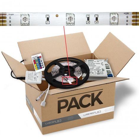 LuzConLed - Kit de tira LED 2 metro 12V DC 8W color RGB con transformador y controlador - Envío Desde España