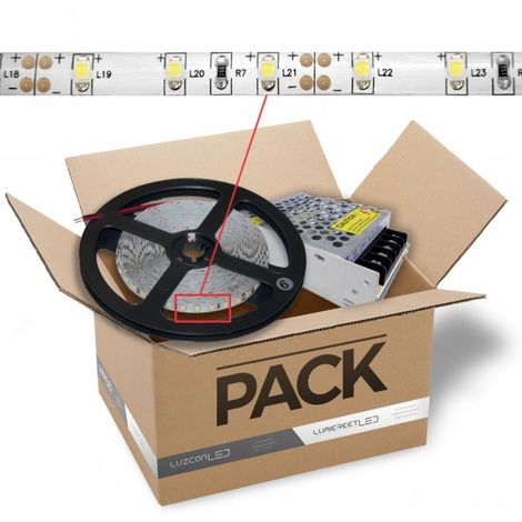 LuzConLed - Kit de tira LED 2 metros 12V DC 8W 60 LED/metro con transformador luz blanca 4500k - Envío Desde España