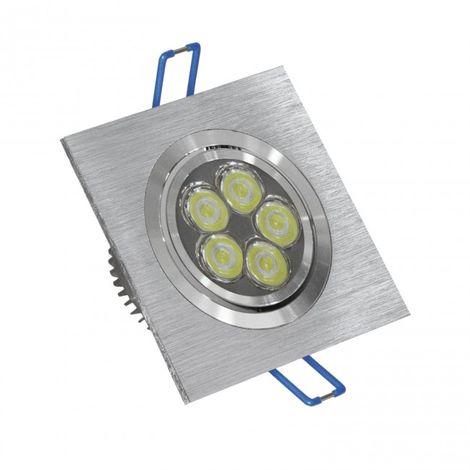 LuzConLed - Ojo de Buey LED 6W 6000K cuadrado aluminio cepillado - ENVÍO DESDE ESPAÑA