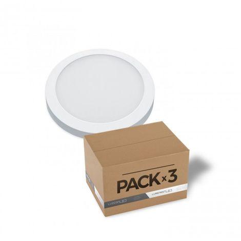 LuzConLed - Pack de 3 downlight de superficie 18W LED circular blanco 4000k - Envío Desde España