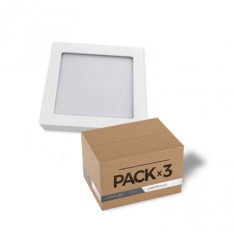 LuzConLed - Pack de 3 downlight de superficie LED 18W cuadrado blanco 4000k - Envío Desde España