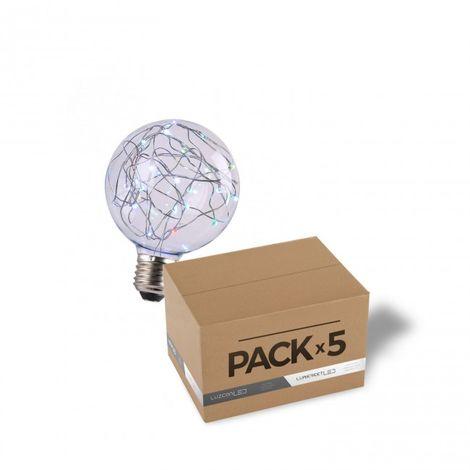 LuzConLed - Pack de 5 bombillas decorativa LED 2W G95 RGB - Envío Desde España