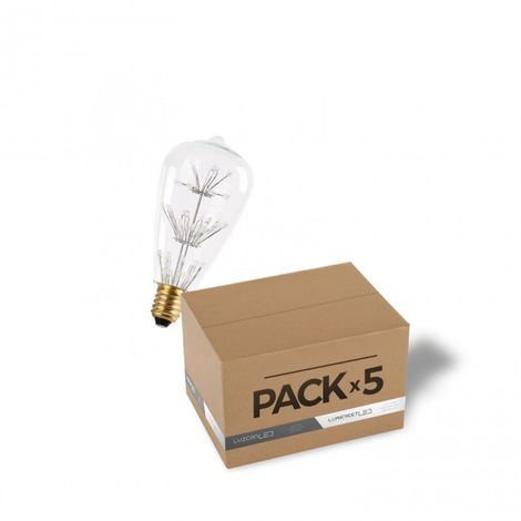 LuzConLed - Pack de 5 bombillas decorativa LED ST64 2W Cristal 2700k - Envío Desde España