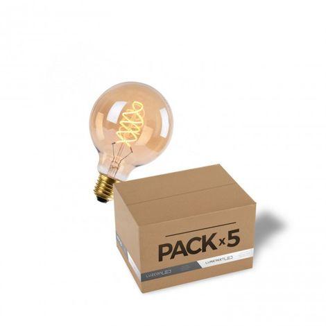 LuzConLed - Pack de 5 bombillas LED 4W filamento SS G95 Cristal ambar 2700k - Envío Desde España