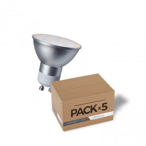 LuzConLed - Pack de 5 bombillas LED Estándar GU10 5W 6500k - Envío Desde España