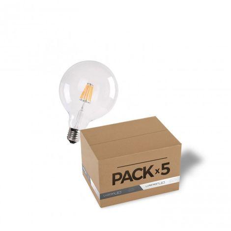 LuzConLed - Pack de 5 bombillas LED filamento 7W G125 transparente 2700k - Envío Desde España