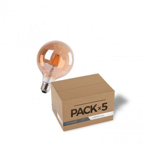 LuzConLed - Pack de 5 bombillas LED Filamento 7W G95 ámbar 2700k - Envío Desde España