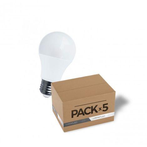 LuzConLed - Pack de 5 bombillas LED mate E27 10W A60 6000k - ENVÍO DESDE ESPAÑA