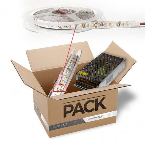 LuzConLed - Pack de Tira 5 metros 120Leds/metro 24V OSRAM 15 w*metro IP20 luz 2700k con transformador - Envío Desde España