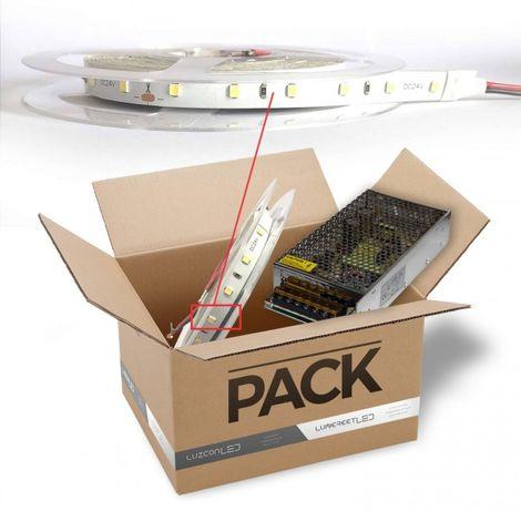 LuzConLed - Pack tira Led 2 metros de 8 W*metro 24V DC Marca Osram luz 6500k con transformador - Envío Desde España
