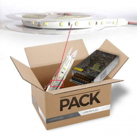 LuzConLed - Pack tira Led 3 metros de 8 W *metro 24V DC Marca Osram luz 6500k con transformador - Envío Desde España