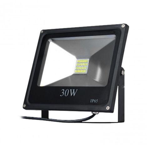 LuzConLed - Proyector LED 30W 6000K Aluminio negro - Envío Desde España