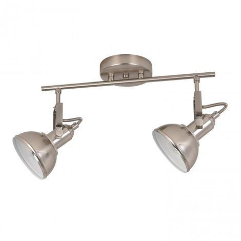 LuzConLed - Regleta 2 luces E14 orientable Retro acabado níquel e interior blanco - Envío Desde España